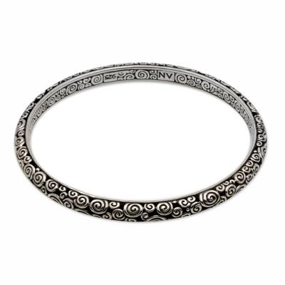 Sterling silver bangle bracelet, 'Temple' - Artisan Crafted Sterling Silver Bangle Bracelet