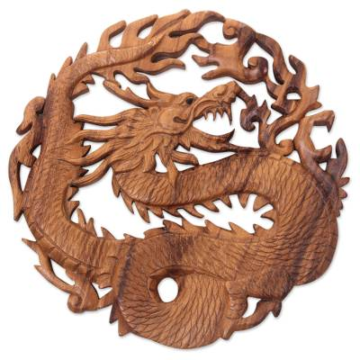 Wood relief panel, 'Dragon of Fire' - Hand Carved Suar Wood Balinese Dragon Relief Panel