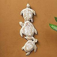 Wood relief panel, 'Sea Turtle Trio'