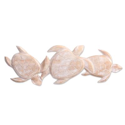 Wood relief panel, 'Sea Turtle Trio' - Antiqued White Wood Turtle Theme Relief Panel Carving