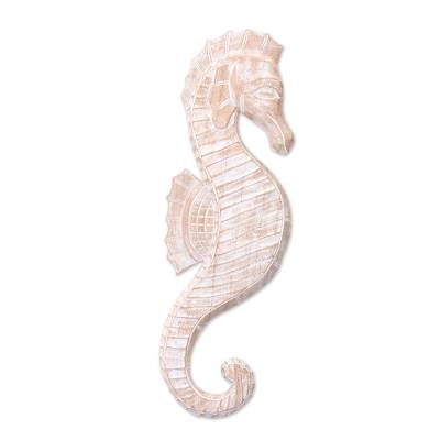 Wood relief panel, 'White Seahorse' - Bali Wood Seahorse Relief Panel Wall Sculpture