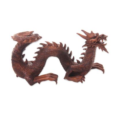 Wood sculpture, 'Walking Dragon' - Artisan Hand Carved Balinese Dragon Sculpture