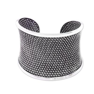 Sterling silver cuff bracelet, 'Bamboo Lattice' - Handcrafted Sterling Silver Woven Cuff Bracelet