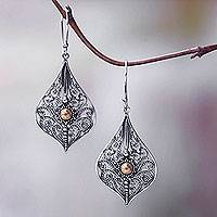 Gold accent dangle earrings, 'Vintage Lace'