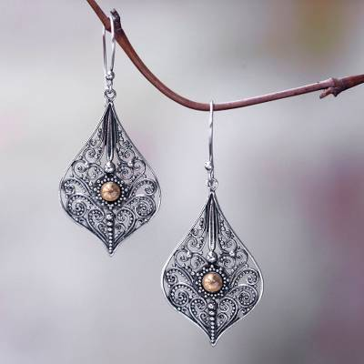 Gold accent dangle earrings, 'Vintage Lace' - Vintage Style Sterling Silver Earrings with 18k Gold Accents