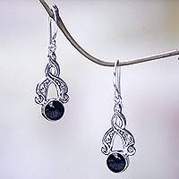 Onyx dangle earrings, 'Midnight Embrace' - Handcrafted Silver and Onyx Dangle Earrings from Bali
