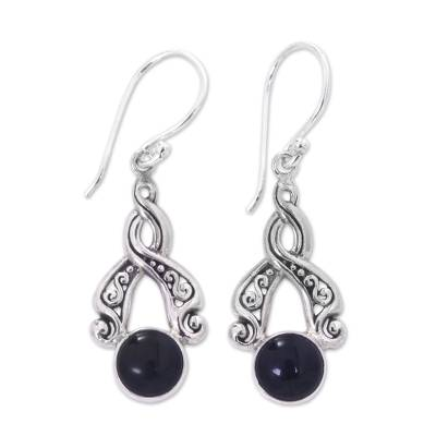 Handcrafted Silver and Onyx Dangle Earrings from Bali