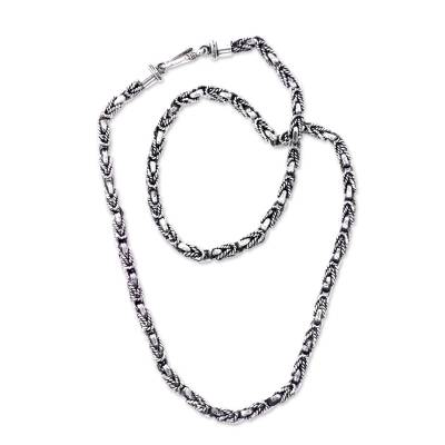 Sterling silver necklace, 'Black Python' - Handcrafted Sterling Silver Chain Necklace from Bali