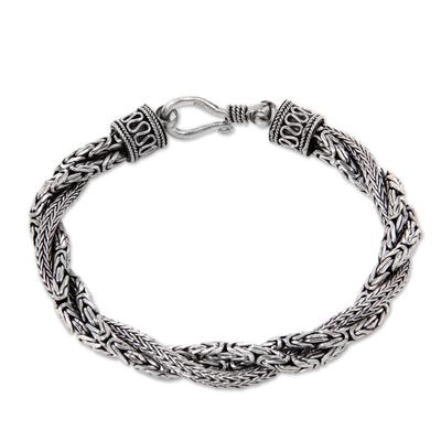 Sterling silver braided bracelet, 'Sanca Batik' - Handcrafted Triple Braid Sterling Silver Bracelet from Bali