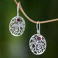 Garnet dangle earrings, 'Dancing Dragonflies' - Handcrafted Balinese Sterling Silver Garnet Earrings
