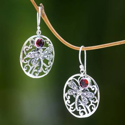Balinese Sterling Silver Garnet Earrings