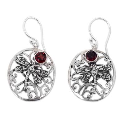 Garnet dangle earrings, 'Dancing Dragonflies' - Handcrafted Balinese Sterling Silver Garnet Earrings