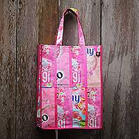 Recycled wrapper shopping bag, 'Sweet Pink' - Recycled Wrapper Shopping Bag Crafted by Hand