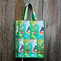 Recycled wrapper shopping bag, 'Sweet Green' - Recycled Wrapper Green Shopping Bag Crafted by Hand