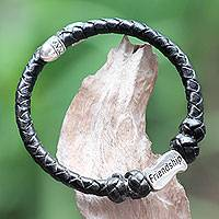 Leather and sterling silver wrap bracelet, 'Friendship in Black' - Sterling Silver Hand Braided Black Leather Bracelet