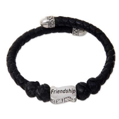 Sterling Silver Hand Braided Black Leather Bracelet
