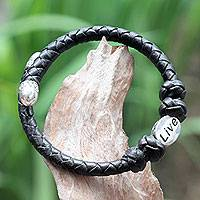 Leather and sterling silver wrap bracelet, 'Live in Black'