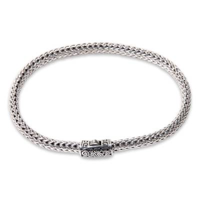 Artisan Crafted Balinese Sterling Silver Chain Bracelet