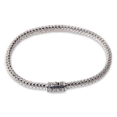 Sterling silver chain bracelet, 'Borobudur Naga' - Artisan Crafted Balinese Sterling Silver Chain Bracelet