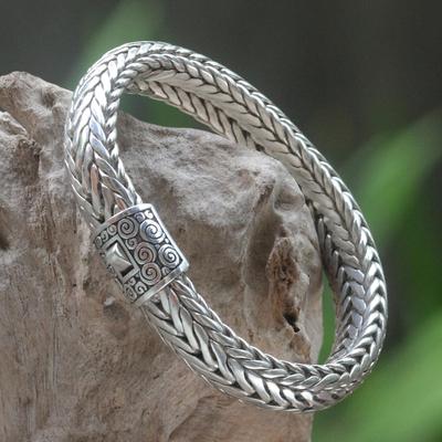 Sterling silver chain bracelet, 'White Dragon' - Artisan Crafted Sterling Silver Chain Bracelet
