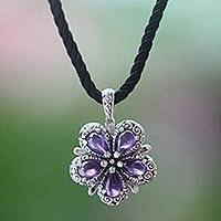 Amethyst flower necklace, 'Mystic Frangipani' - Amethyst and Sterling Silver Flower on Black Silk Necklace