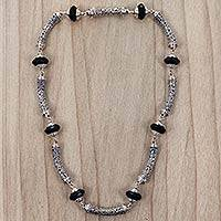Onyx link necklace, 'Borobudur Incantation' - Sterling Silver Link Necklace with Onyx Artisan Jewelry
