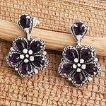 Amethyst and Sterling Silver Flower Earrings Crafted in Bali, 'Mystic Frangipani'