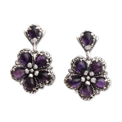 Amethyst dangle earrings, 'Mystic Frangipani' - Amethyst and Sterling Silver Flower Earrings Crafted in Bali