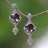 Smoky quartz and peridot dangle earrings, 'Barabay Kites' - Sterling Silver Earrings with Smoky Quartz and Peridot
