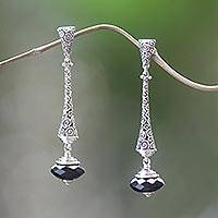 Onyx dangle earrings, 'Borobudur Chimes'