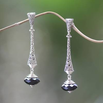 Onyx dangle earrings, 'Borobudur Chimes' - 2.5-inch Long Sterling Silver Earrings with Onyx from Bali