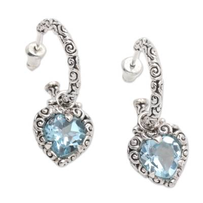 Blue topaz half hoop heart earrings, 'Love Sparkles' - Blue Topaz Hearts in Sterling Silver Half Hoop Earrings