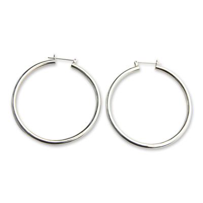 Sterling silver hoop earrings, 'Moonlit Goddess' (2.6 Inch) - Artisan Crafted Balinese Silver Hoop Earrings (2.6 Inch)