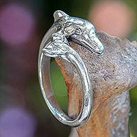 Sterling silver ring, 'Baby Dolphin' - Sterling Silver Dolphin Cocktail Ring Artisan Jewelry