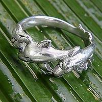 Sterling silver band ring, 'Dolphin Family'