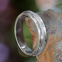 Sterling silver band ring, 'Artful'