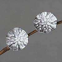 Sterling silver button earrings, 'Pennywort Leaf' - Bali Handcrafted Sterling Silver Leaf Earrings