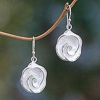 Sterling silver dangle earrings, 'Sweet Gardenia' - Bali Floral Handcrafted Sterling Dangle Earrings
