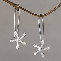 Sterling silver drop earrings, 'Petite Jasmine' - Bali Floral Handcrafted Sterling Drop Earrings