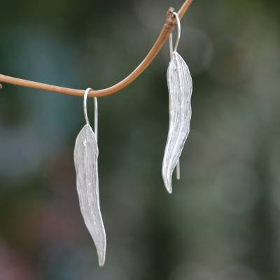 Sterling silver drop earrings, 'Willow Leaf' - Leaf Earrings Handcrafted of Sterling Silver in Bali