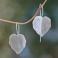 Sterling silver drop earrings, 'Hibiscus Leaves' - Sterling Silver Leaf Earrings Handcrafted in Bali