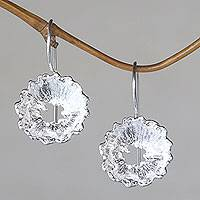 Sterling silver flower earrings, 'Crown Anemone' - Flower Jewelry Sterling Silver Earrings Handmade in Bali
