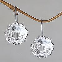 Sterling silver flower earrings, 'Crown Anemone' - Flower jewellery Sterling Silver Earrings Handmade in Bali