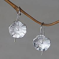 Sterling silver flower earrings, 'Gentle Hollyhocks' - Sterling Silver Earrings Flower Jewelry Handmade in Bali
