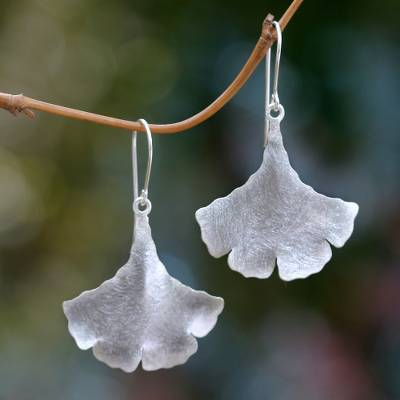 Sterling silver dangle earrings, 'Celery Leaves' - Leaf Shaped Sterling Silver Earrings Handmade in Bali