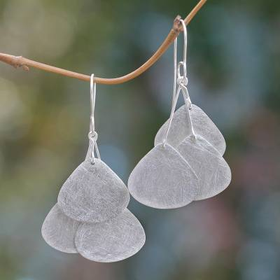 Sterling silver dangle earrings, 'Tripartite Butterfly Wings' - Sterling Silver Hook Earrings Artisan Crafted Jewelry