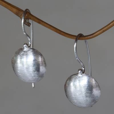 Sterling silver drop earrings, 'Gleam' - Sterling Silver Hook Earrings Minimalist Design from Bali