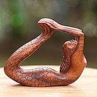 Wood sculpture, 'Dhanurasana Mermaid' - Signed Balinese Mermaid Sculpture Carved in Wood