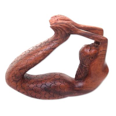 Wood sculpture, 'Dhanurasana Mermaid' - Signed Balinese Mermaid Sculpture Carved in Wood