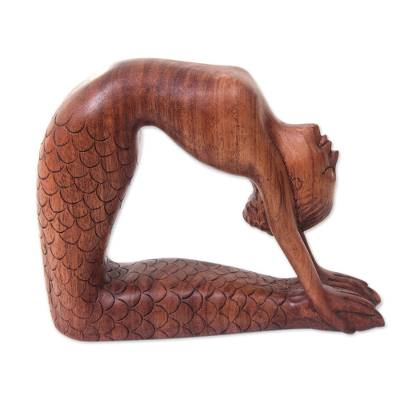 Wood sculpture, 'Ustrasana Mermaid' - Hand Carved Signed Balinese Mermaid Sculpture
